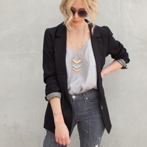 1. Black blazer sound of beauty style